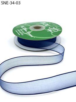 navy blue thin edge organza ribbon