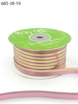 mauve gold foil satin invitation ribbon