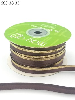 chocolate chip gold foil satin invitation ribbon