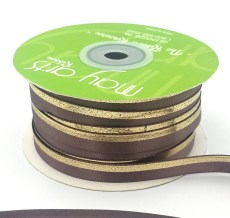 chocolate chip gold foil satin invitation ribbon