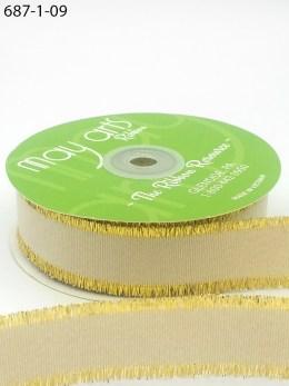 ivory metallic gold fringe grosgrain ribbon