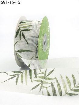 greenery leaves mesh ribbon