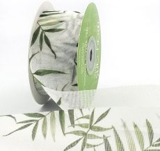greenery leaves mesh ribbon