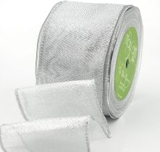 silver metallic organza wired ribbon