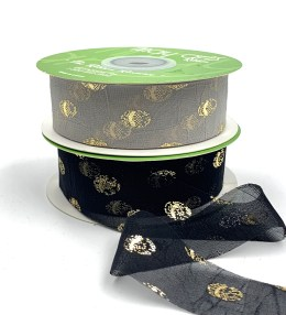 hazy gold polka dot chiffon ribbons
