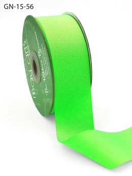 1.5 Inch Light-Weight Flat Grosgrain Ribbon with Woven Edge - GN-15-56 Neon Green