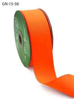 1.5 Inch Light-Weight Flat Grosgrain Ribbon with Woven Edge - GN-15-58 Neon Orange