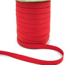 ~3/8 Inch Light-Weight Flat Grosgrain Ribbon with Woven Edge - GN-38-54 Bright Red