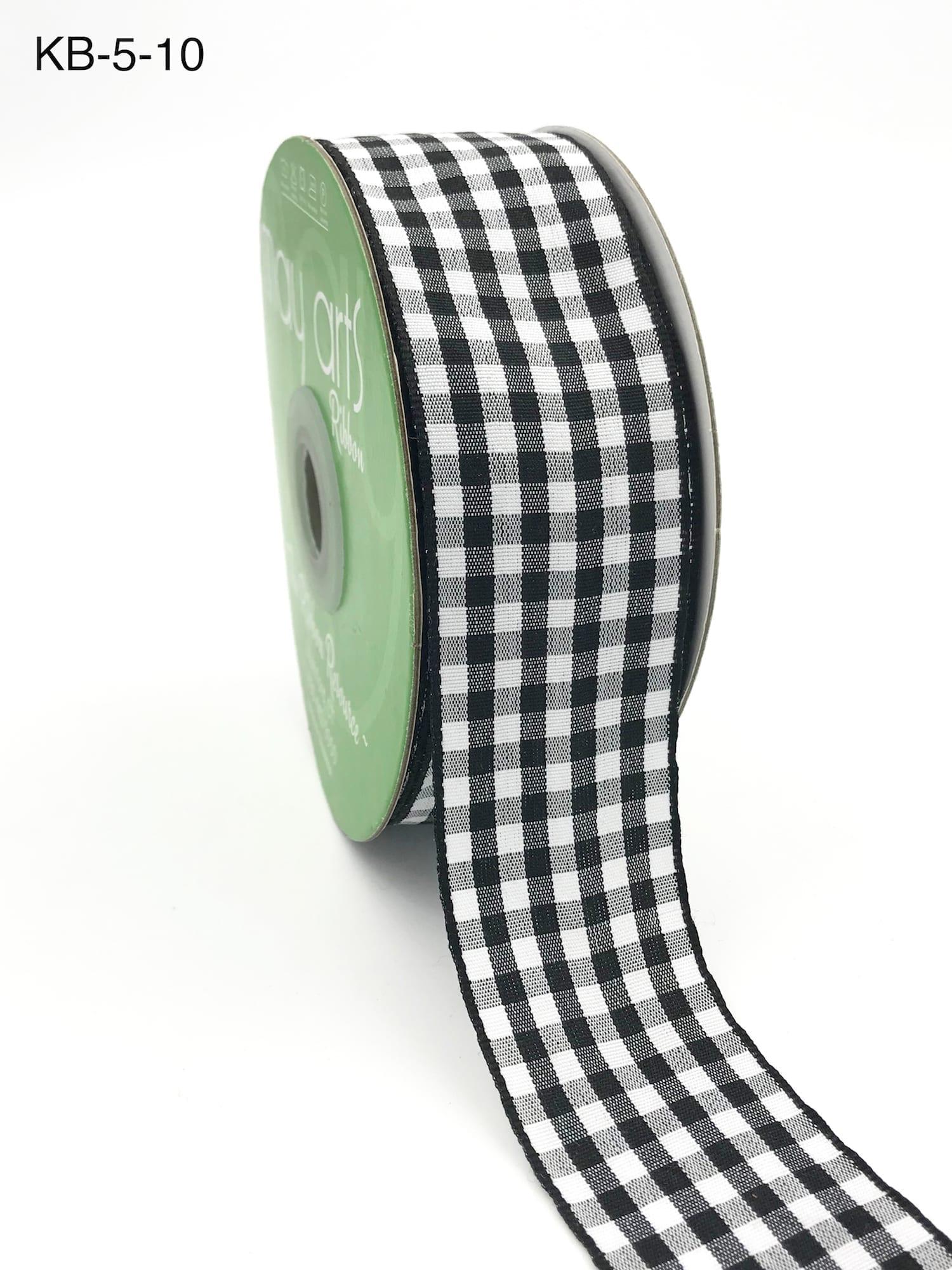 May Arts Green//White 3//8 Inch Solid Checkered Ribbon 5 yards KB46
