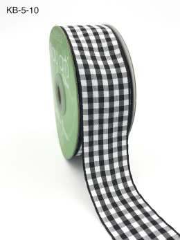 1.5 Inch Checkered Ribbon with Woven Edge - KB10 - BLACK