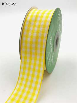 1.5 Inch Checkered Ribbon with Woven Edge - KB27 - YELLOW