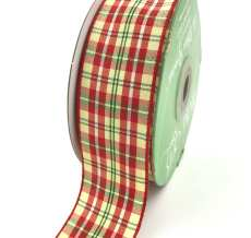 1.5 Inch Checkered Ribbon with Woven Edge - KB45 - RED/GREEN/YELLOW PLAID