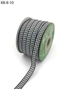 3/8 Inch Checkered Ribbon with Woven Edge - KB10 - BLACK