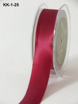 1 Inch Single Faced Satin Cut on the Bias Ribbon with Cut Edge - KK25 - BURGUNDY