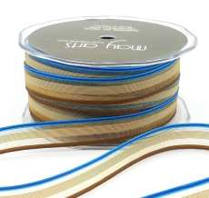 1/2 Inch SHEER/STRIPES Ribbon - MKK04 - BLUE/ANTIQUE GOLD/BROWN