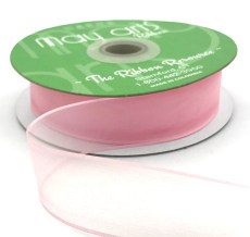 1 Inch Flat Soft Sheer Ribbon with Thin Solid Woven Edge - NNE-1-17 LIGHT PINK