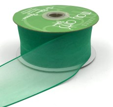 2 Inch Flat Soft Sheer Ribbon with Thin Solid Woven Edge - NNE-2-15 GREEN