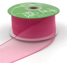 2 Inch Flat Soft Sheer Ribbon with Thin Solid Woven Edge - NNE-2-22 FUCHSIA