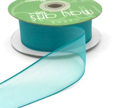 1.5 Inch Flat Soft Sheer Ribbon with Thin Solid Woven Edge - NNE-5-04 TEAL