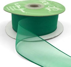 1.5 Inch Flat Soft Sheer Ribbon with Thin Solid Woven Edge - NNE-5-15 GREEN