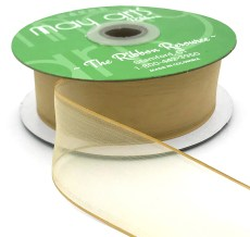 1.5 Inch Flat Soft Sheer Ribbon with Thin Solid Woven Edge - NNE-5-30 GOLD