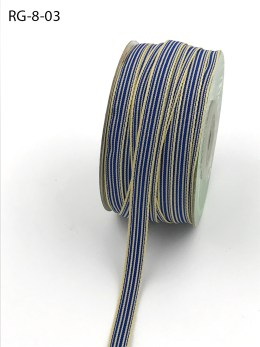 Sea Blue and ivory grosgrain striped ribbon