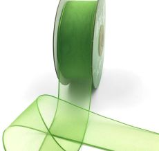 1.5 Inch Soft Sheer Ribbon with Thin Solid Edge - SNE-15-46 Parrot Green