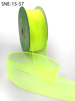 1.5 Inch Soft Sheer Ribbon with Thin Solid Edge - SNE-15-57 Neon Yellow
