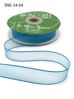 3/4 Inch Soft Sheer Ribbon with Thin Solid Edge - SNE-34-04 Teal