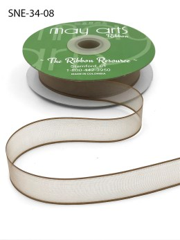 3/4 Inch Soft Sheer Ribbon with Thin Solid Edge - SNE-34-08 Taupe
