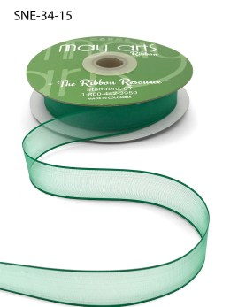 3/4 Inch Soft Sheer Ribbon with Thin Solid Edge - SNE-34-15 Green
