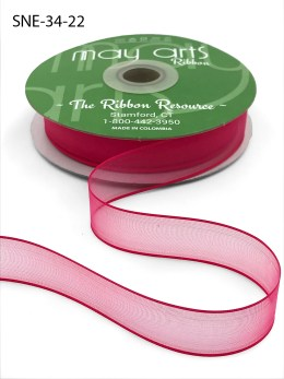 3/4 Inch Soft Sheer Ribbon with Thin Solid Edge - SNE-34-22 Fuchsia Pink