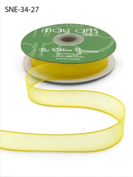 3/4 Inch Soft Sheer Ribbon with Thin Solid Edge - SNE-34-27 Neon Yellow