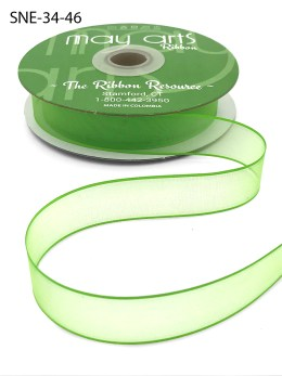 3/4 Inch Soft Sheer Ribbon with Thin Solid Edge - SNE-34-46 Neon Green