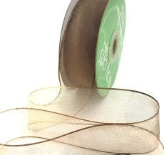 1.5 Inch Soft Variegated (multi-color) Sheer Ribbon with Thin Solid Edge - SNV-15-33 Tan/Brown