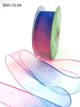 1.5 Inch Soft Variegated (multi-color) Sheer Ribbon with Thin Solid Edge - SNV-15-34 Neon Pink/Neon Blue