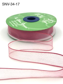 3/4 Inch Soft Variegated (multi-color) Sheer Ribbon with Thin Solid Edge - SNV-34-17 Light Pink/Mauve