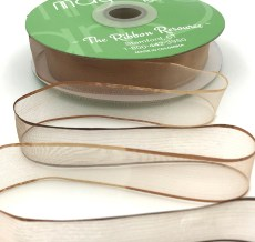 3/4 Inch Soft Variegated (multi-color) Sheer Ribbon with Thin Solid Edge - SNV-34-33 Tan/Brown