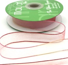 3/4 Inch Soft Variegated (multi-color) Sheer Ribbon with Thin Solid Edge - SNV-34-54 Red/Pink/Ivory
