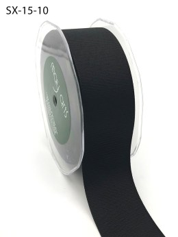 1.5 Inch Heavy-Weight (higher thread count) Classic Grosgrain Ribbon with Woven Edge - SX-15-10 Black