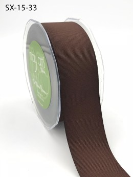 1.5 Inch Heavy-Weight (higher thread count) Classic Grosgrain Ribbon with Woven Edge - SX-15-33 Brown