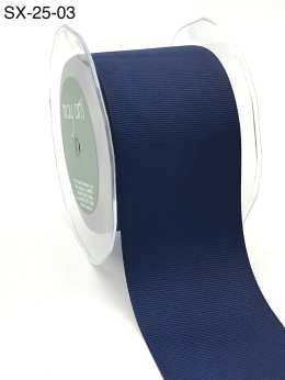 2.5 Inch Heavy-Weight (higher thread count) Classic Grosgrain Ribbon with Woven Edge - SX-25-03 navy