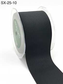 2.5 Inch Heavy-Weight (higher thread count) Classic Grosgrain Ribbon with Woven Edge - SX-25-10 black
