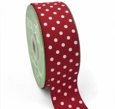grosgrain red and white polka dot ribbon