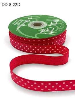 5/8 Inch Grosgrain Printed Dots Ribbon with Woven Edge - DD-8-22D FUCHSIA/WHITE DOTS