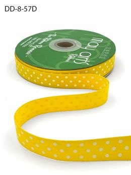 5/8 Inch Grosgrain Printed Dots Ribbon with Woven Edge - DD-8-57D YELLOW/WHITE DOTS