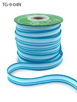1/2 Inch Grosgrain Multi-Color Striped Ribbon with Woven Edge - TG-9-04N BLUE/TURQUOISE/WHITE