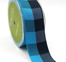 turquoise and black jumbo check ribbon