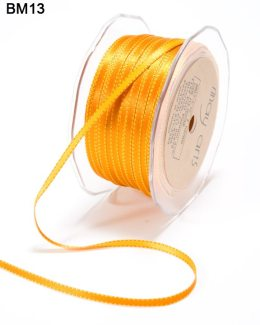 3/16 Inch Two-Color Reversible Satin with Woven Stitched Edge - BM13 - ORANGE/YELLOW