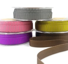 5/8 Inch Two-Color Ribbed Ribbon with Woven Edge